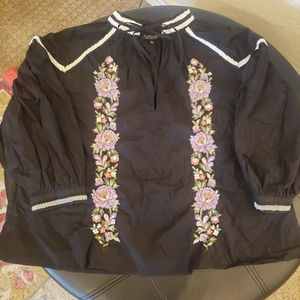 Topshop Women's Black Pink Embroidered Cotton Top